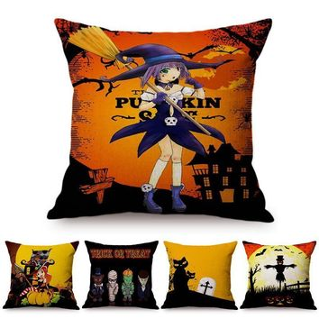 Cute Little Witches Halloween Decoration Cartoon Animation Cushion Cover Evil Black Cat Pumpkin Lantern Sofa Throw Pillow Cover