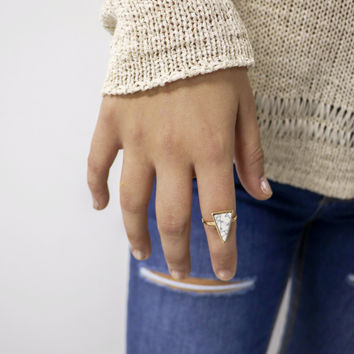 Bermuda Gold and White Triangle Gemstone Ring