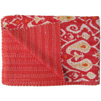Red Twin Size Hand Stitched Ikat kantha Quilt Bedspread