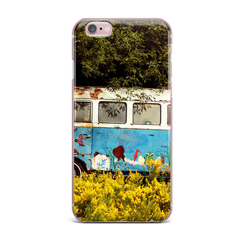 """Angie Turner """"Hippie Bus"""" Blue Yellow iPhone Case"""