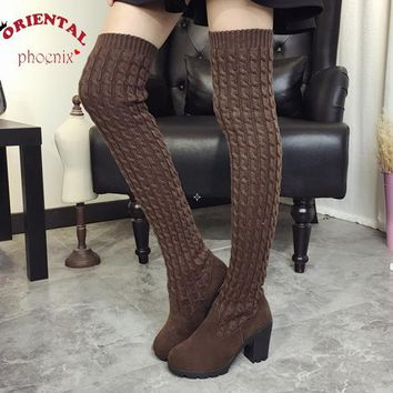 Women Boots 2016 Autumn Winter Ladies Fashion Flat Bottom Boots Shoes Over The Knee Th