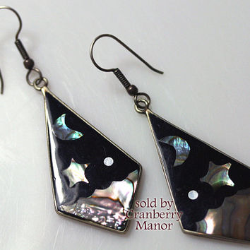 Mexico Earrings, Mexican Alpaca Silver Mother of Pearl MOP Inlaid Moon & Stars Figural, Vintage Designer Signed, Costume Jewelry J1032