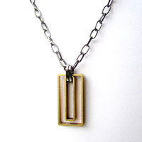 Rectangle Necklace Geometric Necklace Mens Necklace Mixed Metal Jewelry Unisex Jewelry