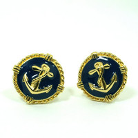 Anchor Earrings Nautical Vintage Navy Blue Enamel and Gold Tone Rope Round Clip Ons