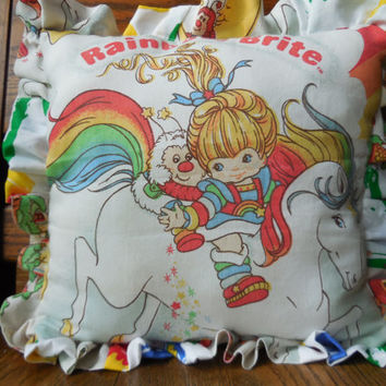 Pillow with Ruffles - Rainbow Brite -Vintage Materials - Newly Made - New Stuffing - Colorful and Adorable