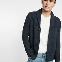plaited shawl collar cardigan