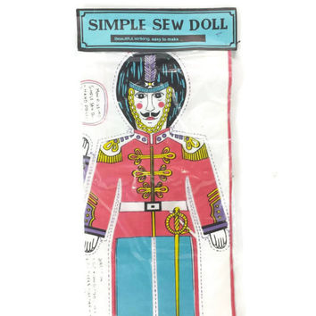1960's Soldier Simple Sew Doll, Monirissimo, Hand painted USA Hollywood, Calif, Pattern, Vintage Sewing Kit, Vintage Fabric Panel