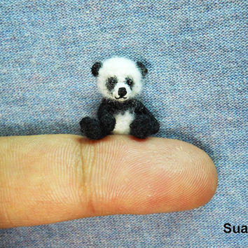Miniature Panda Bear - Micro Crochet Mohair Panda 0.8 Inch - Made To Order