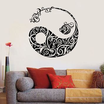 Vinyl Wall Decal Yin Yang Asian Pattren Oriental Decor Stickers (540ig)