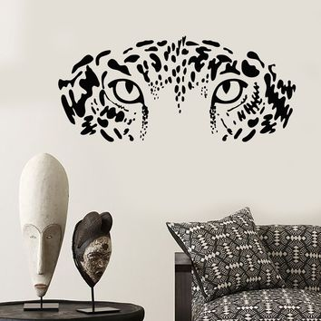 Vinyl Wall Decal Eyes Wild Big Cat Leopard Predator African Animal Stickers Unique Gift (2049ig)