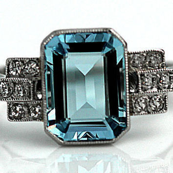 Aquamarine Engagement Ring Antique Platinum Art Deco Diamond Aquamarine Emerald Cut Ring Vintage Aquamarine Diamond Ring !