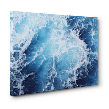 Blue Ocean Surf - Gallery Wrap Canvas, Coastal Nautical Home Decor Seascape Style Wrapped Canvas Hanging. In 8x10 11x14 16x20 20x24 24x36