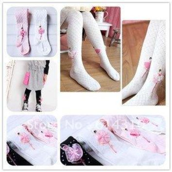 Free shipping 2pcs/lot free shipping  Cute Ballerina girlCotton children baby tights  girl tights atwt0007
