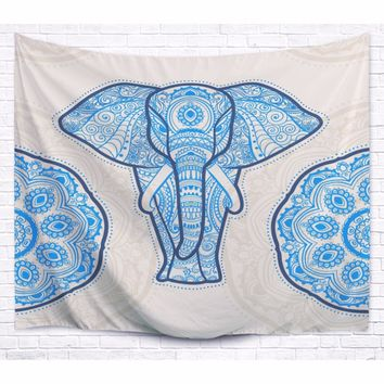 Mandara Blue Elephant Tapestry 100% Polyester Printing For Wall Hanging Bedroom Curtain Decoration Outdoor