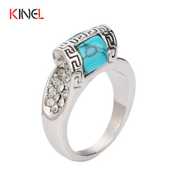 Unique Turquoise Wedding Rings For Women CZ Diamond Mosaic BOHO Vintage Jewelry Turkey Antique Engagement Ring