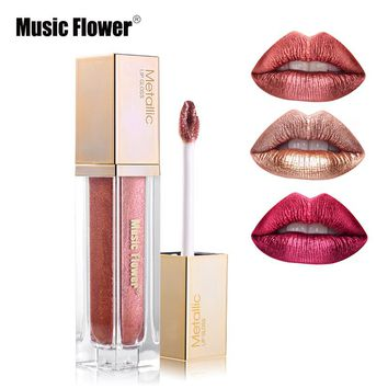 Music Flower 8 Colors Metallic Liquid Lipstick Waterproof Diamond Shine Lip Gloss Creamy Paint Moisturizer Sexy Pigment Cosmetic