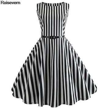 Stripe Dress Women 2018 Sexy Sleeveless Audrey Hepburn Style Summer Dress 50s 60s Vintage Retro Rockabilly Big Swing Dresses