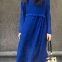 Blue Pattern Long-Sleeve A-Line Dress