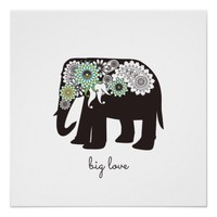 Paisley Elephant Elegant Cute Animal Love Custom Poster