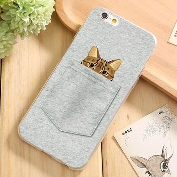 Soft TPU Case Cover For Apple iPhone 7 7Plus 7s Plus Cases Phone Shell Top Style Cartoon Funny Model Sleep Cat Design 2017 Hot!