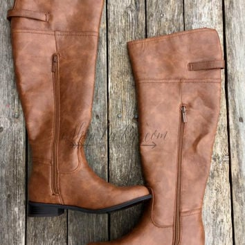 LET'S TAKE A RIDE BOOTS IN COGNAC