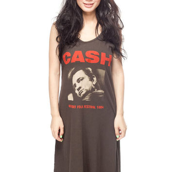 JOHNNY CASH Long Dress T Shirt Folk Country Rock Women Black T-Shirt Tunic Tank Top Sleeveless Size S M L