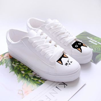 Women's Cat Print Hand Painted Lace up Flat Gym Shoes, Sneakers Size: 4.5-8.5