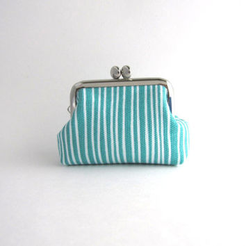 Coin Purse -Frame Mini Pouch Mini Jewelry Case with Ring Pillow - aqua stripe