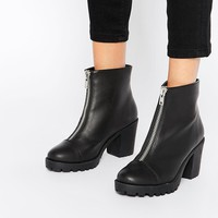 London Rebel | London Rebel Zip Chunky Heeled Ankle Boots at ASOS