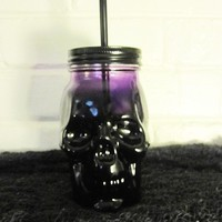 Purple Skull Drinking Mason Style Jar