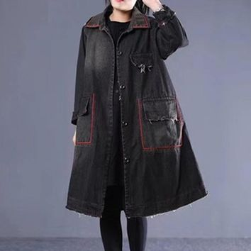 Trendy Women Denim Jacket Outwear Coat for Ladies Tie Dye Thick Long Loose Oversized Warm Fashion Casual Vintage Autumn Winter 804075 AT_94_13
