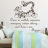 Wall Decals Quotes Vinyl Sticker Decal Quote Winnie the Pooh Tigger Once in awhile someone amazing comes along Nursery Baby Room Kids Boys Girls Home Decor Bedroom Art Design Interior NS814