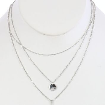 Sliver Metal Coin Charm Three Layer Chain Necklace