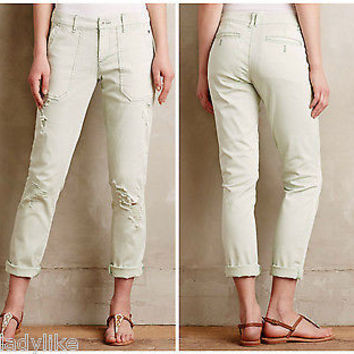 NWT Anthropologie Pilcro Hyphen Distressed Chinos Pants Sz 30 - Mint Color