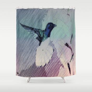 Happy Hummingbird Shower Curtain by Jessica Ivy