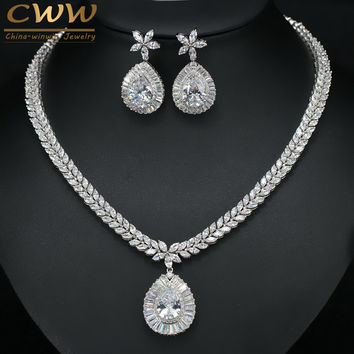 Perfect Pear Cut White Gold Color Dangle Drop Crystal Women Big Costume Jewelry Sets Cubic Zirconia Necklace For Wedding T278