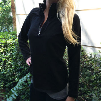 Black Zipper High Collar Long Sleeve Shirt