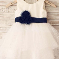 Polka Dot Ivory Flower Girl Dress with Navy Sash Bady Girl Dress 2T 3T 4T 5T 6T
