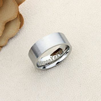 Personalized Promise Ring Stainless Steel Wedding Band Ring 8MM Brushed Flat Top Inside Personalize Custom Engraving - CZRSS308B