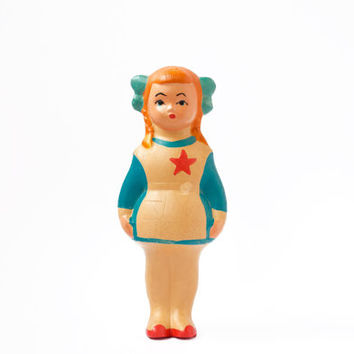 Soviet School Girl Toy / Rare Communist Rubber Squeaky Doll / 1960's Cute USSR Pioneer Collectible Mid Century Russian Kitsch Figurine