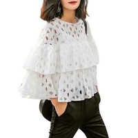 2016 Summer Plus Size Women Short Blouses Shirts o neck 3/4 sleeve lace hollow out solid loose ruffles blouse ladies tops White