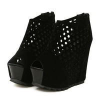 Fashion Round Peep Toe Hollow Design Super High Wedge Black Suede Sandals