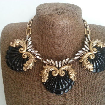 Vintage J. Crew Statement Necklace, Retro Runway Jewelry, Classic Bib Black Tie Formal Accessories, Designer Signed