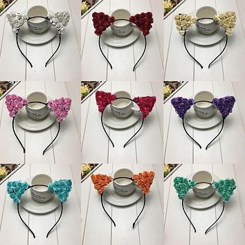 Hot Children Girls Flower Cat Ears New Cute Hair Accessories Headwear Boho Style Children Cat Ears Hairband Headband for Party