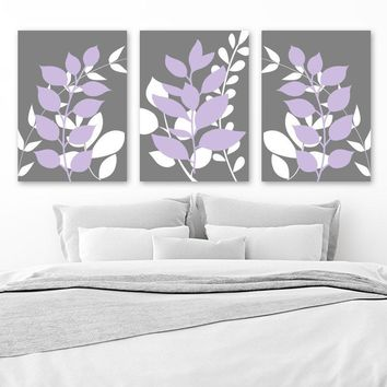 Gray Lavender Wall Art, Foliage Art, Botanical Wall Art, Leaf Bedroom Wall Decor, CANVAS or Print, Gray Purple Bathroom Wall Decor, Set of 3
