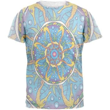 LMFCY8 Mandala Trippy Stained Glass Seahorse Mens T Shirt