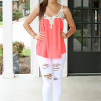 Going Places Tank - Bright Coral