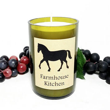 Wine Bottle Candle/Horse Farmhouse  Scented Soy Wax Candle/Recycled Glass Bottle Candle/Fresh Brewed Coffee Scent/Country Kitchen Candle