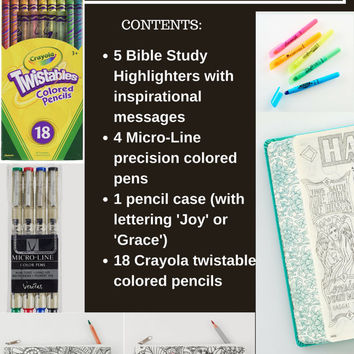 Bible Journaling Bundle Gift Sets with colored pencils, paints, pens, gesso, brushes, highlighters