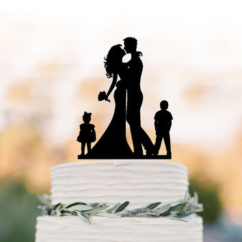 Bride and groom silhouette  Wedding Cake topper with child, cake topper wedding, wedding cake topper with boy and girl, family cake topper